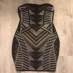 Gold, silver, and black beaded dress